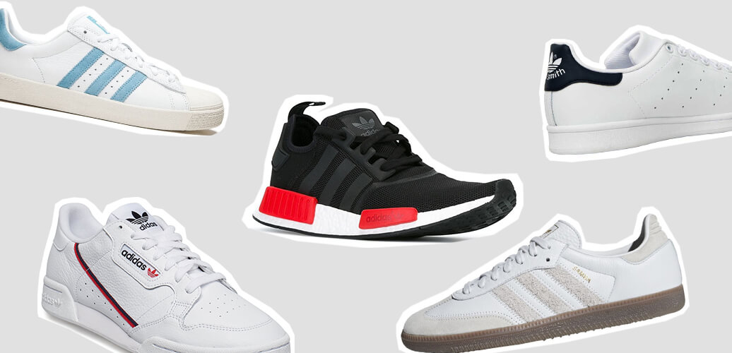 Beliebte Schuhe Adidas High Top Sneakers mit Streifen
